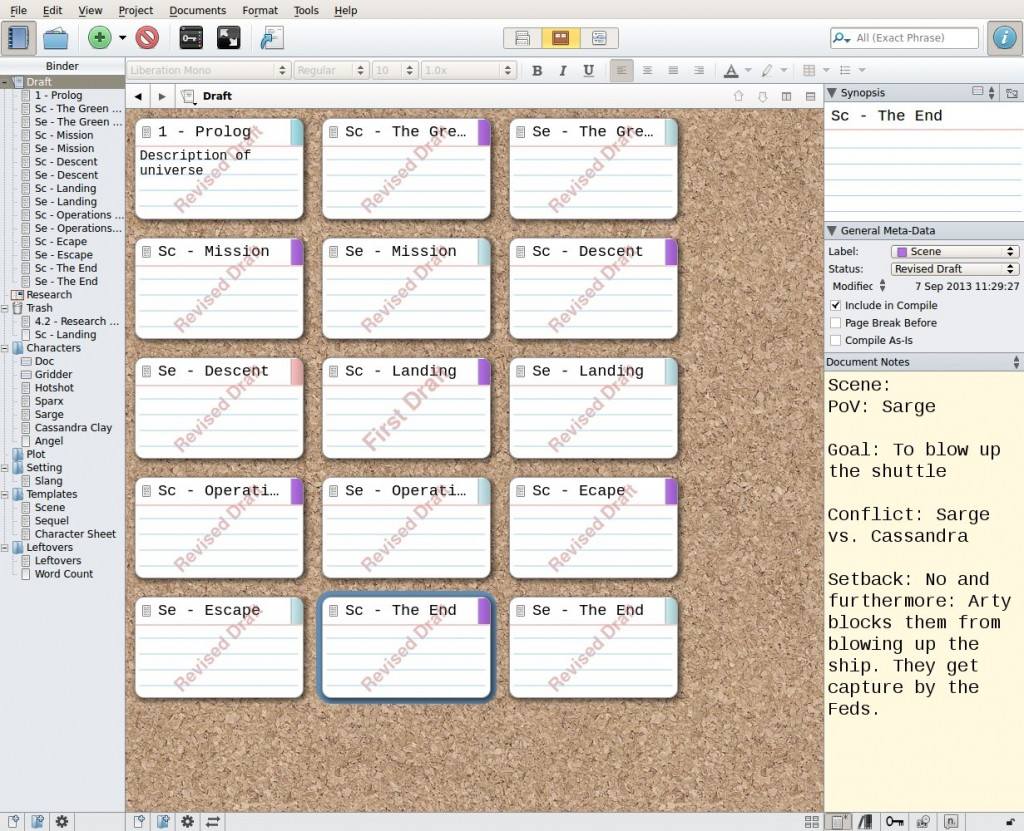 My Scrivener screen using the Jim Butcher method for structure